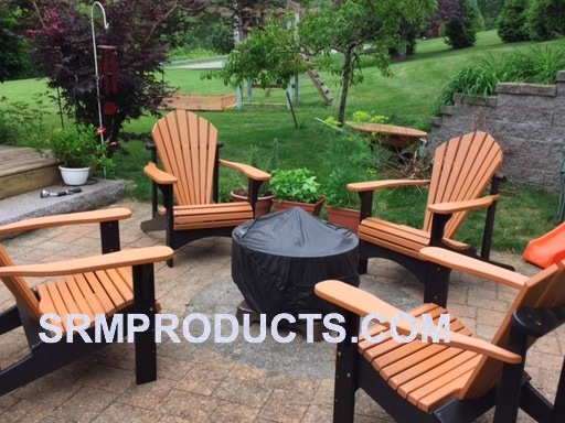 Merveilleux Model 100 Cedar/black Recycled Plastic Adirondack Chairs Two Tone
